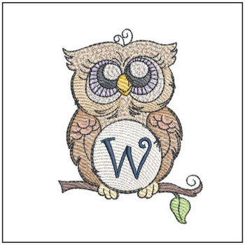 "Owl ABC's - W - Fits in a 4x4"" Hoop - Instant Downloadable Machine Embroidery"