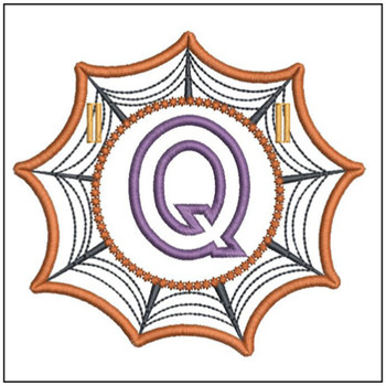 "Spiderweb ABC's - Q - Fits in a 5x7"" Hoop - Instant Downloadable Machine Embroidery"