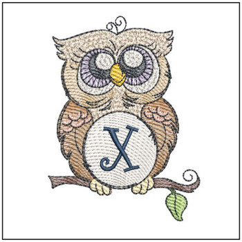 "Owl ABC's - X - Fits in a 4x4"" Hoop - Instant Downloadable Machine Embroidery"