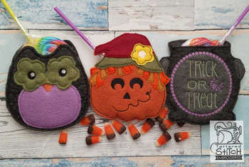 "Halloween Treat Bags- Fits in a 5x7"" Hoop - Instant Downloadable Machine Embroidery"