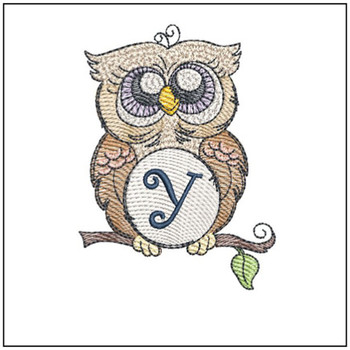 "Owl ABC's - Y - Fits in a 4x4"" Hoop - Instant Downloadable Machine Embroidery"