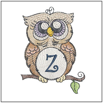 """Owl ABC's -Z - Fits in a 4x4"""" Hoop - Instant Downloadable Machine Embroidery"""