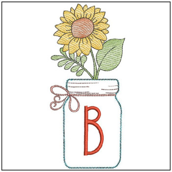 Sunflower Mason Jar ABCs - B - Embroidery Designs
