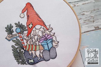 """North Pole Gnome- Fits in a 5x7 and 8x8"""" Hoop - Instant Downloadable Machine Embroidery"""