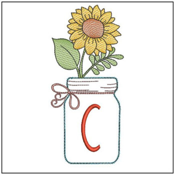 Sunflower Mason Jar ABCs - C - Embroidery Designs