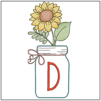 Sunflower Mason Jar ABCs - D - Embroidery Designs