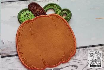 "Pumpkin Coaster - Fits in a 5x7"" Hoop - Instant Downloadable Machine Embroidery"
