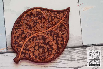 "Aspen Leaf Coaster - Fits in a 5x7"" Hoop - Instant Downloadable Machine Embroidery"