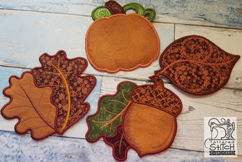 "30% Off - Fall Coasters Bundle - Fits in a 5x7"" Hoop - Instant Downloadable Machine Embroidery"