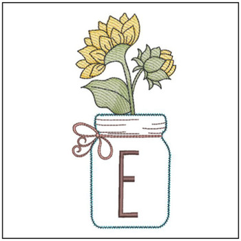 Sunflower Mason Jar ABCs - E - Embroidery Designs