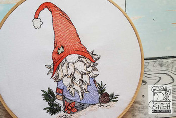 """Winter Frost Gnome- Fits in a 5x7 and 8x8"""" Hoop - Instant Downloadable Machine Embroidery"""
