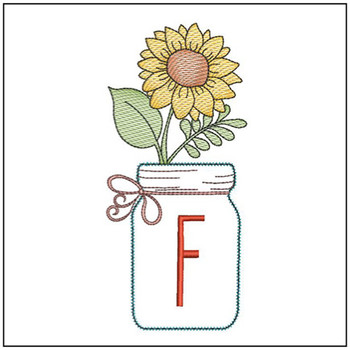 Sunflower Mason Jar ABCs - F - Embroidery Designs