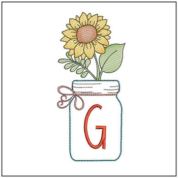 Sunflower Mason Jar ABCs - G - Embroidery Designs