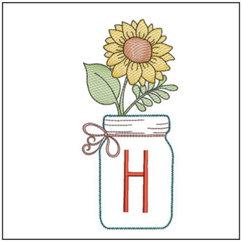 Sunflower Mason Jar ABCs - H - Embroidery Designs
