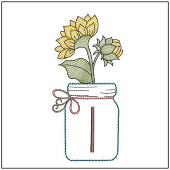 Sunflower Mason Jar ABCs - I - Embroidery Designs