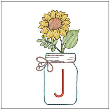 Sunflower Mason Jar ABCs - J - Embroidery Designs