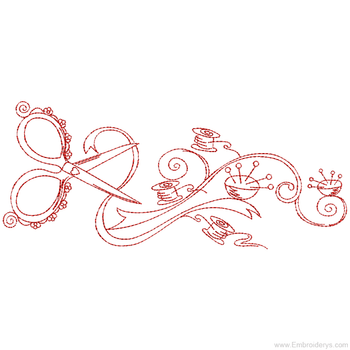 Notions Border Redwork - Embroidery Designs