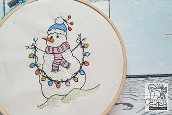 """Snowman with Lights - Fits in a 4x4 and 5x7"""" Hoop - Instant Downloadable Machine Embroidery"""