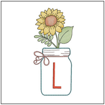 Sunflower Mason Jar ABCs - L - Embroidery Designs