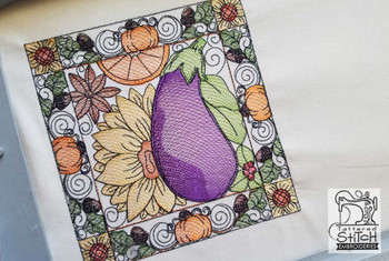 "Eggplant Quilt Block  - Fits into a 5x7 & 8x8"" hoop - Instant Downloadable Machine Embroidery - Light Fill Stitch"