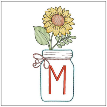 Sunflower Mason Jar ABCs - M - Embroidery Designs