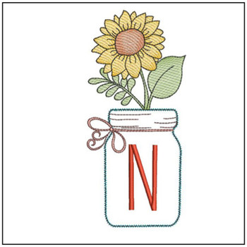 Sunflower Mason Jar ABCs - N - Embroidery Designs
