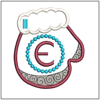 Mitten ABC's - E - In the Hoop - Embroidery Design