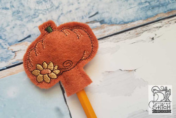 Pumpkin Pencil Topper - In the Hoop - Machine Embroidery Designs