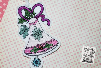 "Vintage Bell Ornaments  - Fits into a 5x7"" hoop - Instant Downloadable Machine Embroidery - Light Fill Stitch"