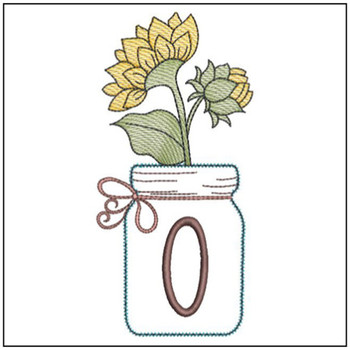 Sunflower Mason Jar ABCs - O - Embroidery Designs