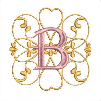 "Monogram Swirls ABCs - B - Fits a 4x4"" Hoop - Machine Embroidery Designs"