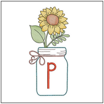 Sunflower Mason Jar ABCs - P - Embroidery Designs