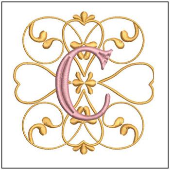 "Monogram Swirls ABCs - C - Fits a 4x4"" Hoop - Machine Embroidery Designs"