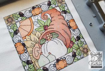 "Cornucopia Quilt Block  - Fits into a 5x7 & 8x8"" hoop - Instant Downloadable Machine Embroidery - Light Fill Stitch"
