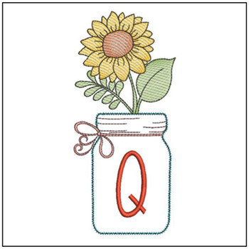 Sunflower Mason Jar ABCs - Q - Embroidery Designs