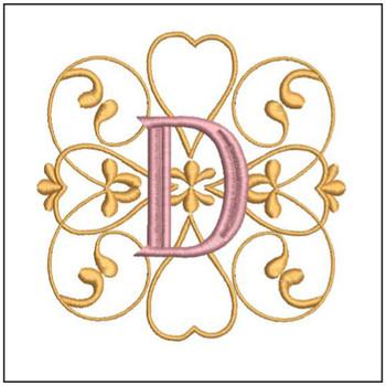 "Monogram Swirls ABCs - D - Fits a 4x4"" Hoop - Machine Embroidery Designs"
