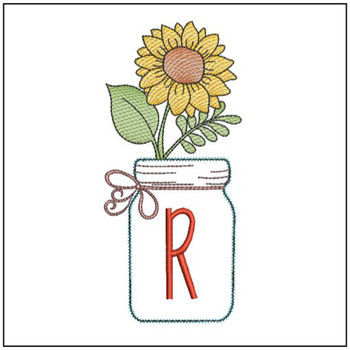 Sunflower Mason Jar ABCs - R - Embroidery Designs