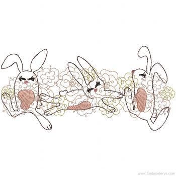 Three Bunnies Border - Embroidery Designs