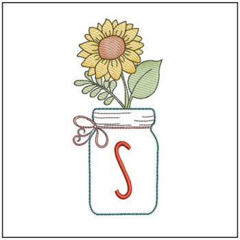 Sunflower Mason Jar ABCs - S - Embroidery Designs
