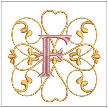 "Monogram Swirls ABCs - F - Fits a 4x4"" Hoop - Machine Embroidery Designs"