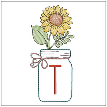 Sunflower Mason Jar ABCs - T - Embroidery Designs