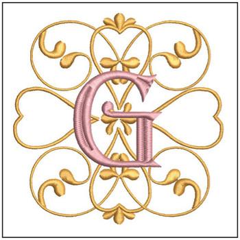 "Monogram Swirls ABCs - G - Fits a 4x4"" Hoop - Machine Embroidery Designs"