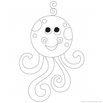 Baby Octopus Applique - Embroidery Designs