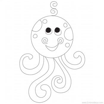 Baby Octopus Applique - Embroidery Designs