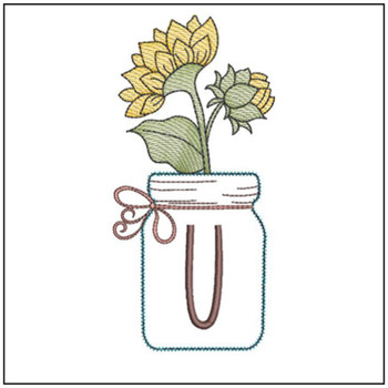 Sunflower Mason Jar ABCs - U - Embroidery Designs