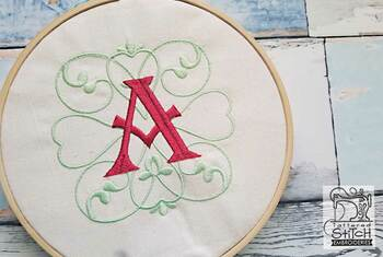 "Monogram Swirls ABCs - H - Fits a 4x4"" Hoop - Machine Embroidery Designs"