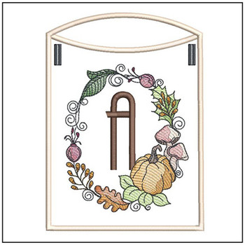 Pumpkin Wreath Bunting ABCs - A - Embroidery Designs