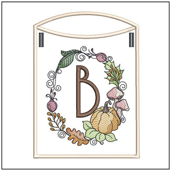 Pumpkin Wreath Bunting ABCs - B - Embroidery Designs
