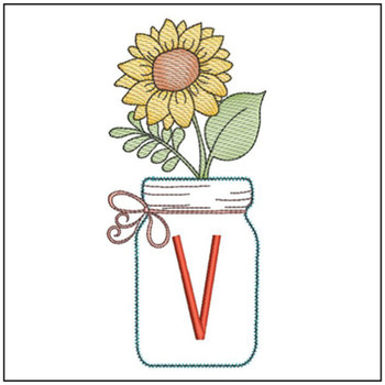 Sunflower Mason Jar ABCs - V - Embroidery Designs