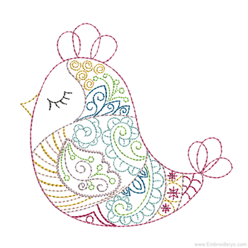 Whimsical Resting Finch - Embroidery Designs